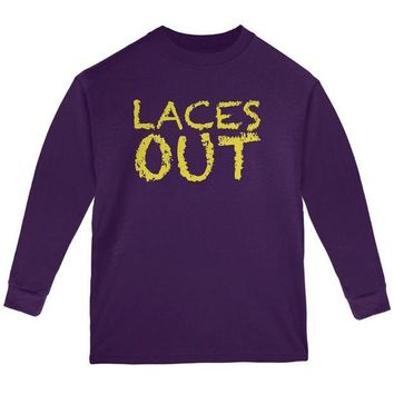 PEAPGQ9 Football Kicker Laces Out Ace Youth Long Sleeve T Shirt