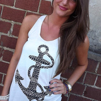 Aztec Anchor Tank - White | The Rage
