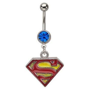 Belly Button Ring Navel 316L, Superman, Dangle, Gem, Belly Rings