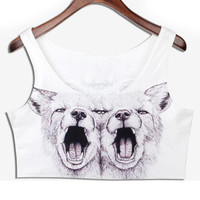 White Wolf Print Crop Tank Top