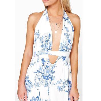 Open Front Blue Flowers Long Summer Dress