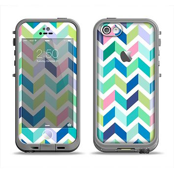 The Fun Colored Vector Segmented Chevron Pattern Apple iPhone 5c LifeProof Fre Case Skin Set
