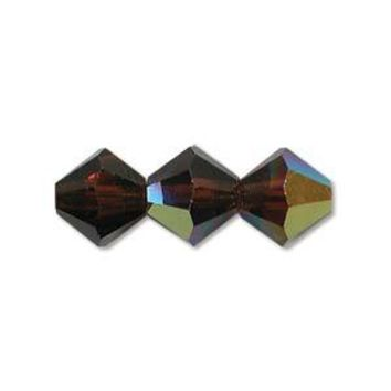 MC30204SMKTOAB - 4mm Preciosa Bicone Crystal Beads,  Smoked Topaz AB | Pkg 144