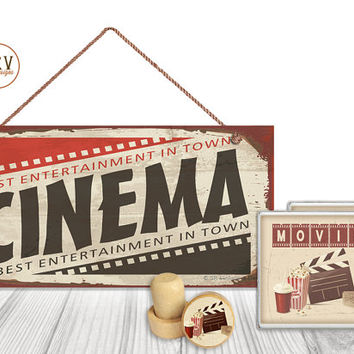 "Gift Set, 4 PC, Movie Cinema Set, 5"" x 10"" Wood Sign, Two Drink Coasters, One Decorative Wine Stopper, Gift Package, Made To Order"