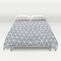 Geo Outline Grey Duvet Cover by Project M