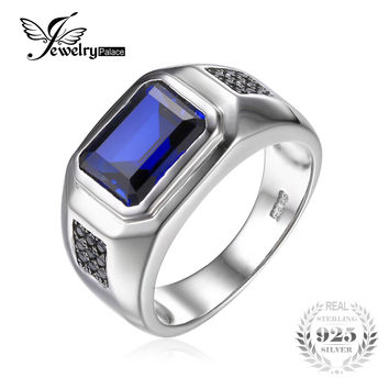 Jewelrypalace Men 4.3ct Created Blue Sapphire Natural Black Spinel Anniversary Wedding Ring Genuine 925 Sterling Silver Wedding