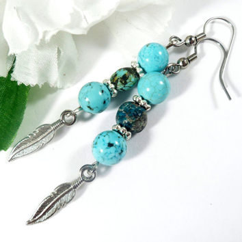 Blue Howlite & Chrysocolla Earrings with Feather Charms, Fashion Earrings, Blue Earrings, Beaded Earrings, Matching Jewelry Set Gift for Her