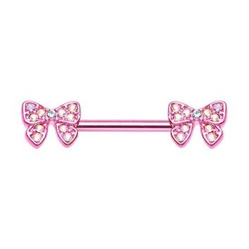 Pair of Pink Dainty Bow-Tie Sparkle Nipple Barbell Ring 14ga