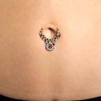 Lower Navel Ornate Belly Gem Tattoo (assorted)