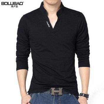 PEAPFS2 2017 New Arrival Spring Brand Polo Shirt Men Fashion Solid Color Long Sleeve Polo Men Casual Slim Fit Men Shirt