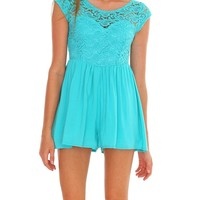 Delightful Lace Romper - Mint