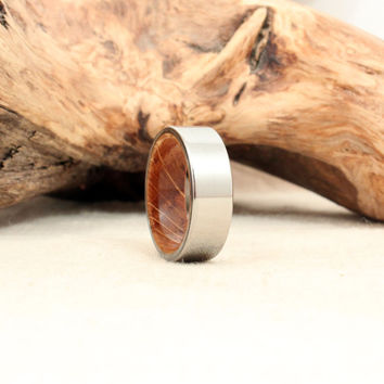 Size 8 - Titanium and Jack Daniels Whiskey Barrel White Oak Stave Wood Ring Titanium Ring8
