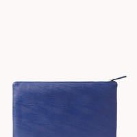 FOREVER 21 Classic Midsize Faux Leather Clutch Blue One