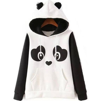 Lovely panda logo hooded coat