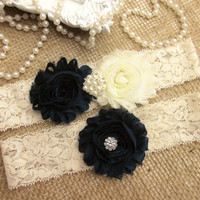 Navy Blue Wedding Garter Set, Country Chic Wedding Garter Set, Wedding Accesoories