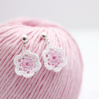 cherry blossom earrings - crochet flower jewelry