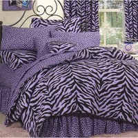 Zebra Print Bed in a Bag - Lavender/Black