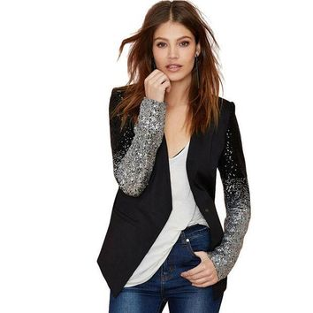 PEAPUNT PU Leather Patchwork OL Formal Blazer Silver Gray Gradient Sequins Stitching Slim Women Blazers Coat Autumn Suit Jacket Workwear