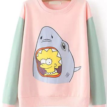 Pink Shark Print Long Sleeve Sweatshirt