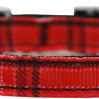"""Plaid Nylon Dog Collar with classic buckle 3/8"""" Red Size 16"""
