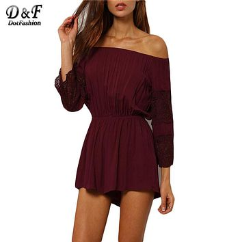 Casual Brand Womens 2016 Sale Sexy Summer Playsuits Cotton Off The Shoulder Long Sleeve Lace Embellished Burgundy Jumpsuit