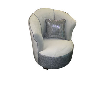 Komfy Kings, Inc 12651 Newco Kids Gray Velvet with Gray Sequins 29.5-Inch Tulip Tween Chair
