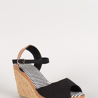 Canvas Peep Toe Espadrille Platform Wedge Size: 8, Color: Black