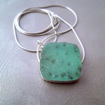 Druzy Jewelry, Incredibly Stunning Pale Blue Green Natural Druzy Necklace,  StarDust Stone