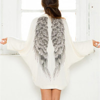 Angel Wings Printed Silk Cardigan