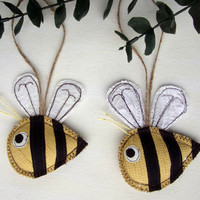 Bee Ornament Bumble Bee Decoration Fabric Bee Gift Textile Bee Ornament Honey Bee Keeper Gift Christmas Ornament Nursery Hanging Decoration