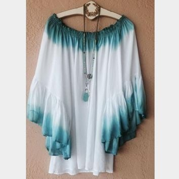Fashion Sexy off shoulder Gradient color loose top