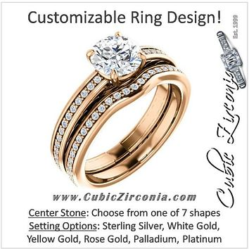 CZ Wedding Set, Style 030 feat The Crystal engagement ring (Customizable Round Channel)