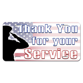 Thank You for Your Service - USA Military Troops United States Marine Corps Navy Air Force Army Novelty License Plate