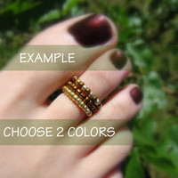 Grab Bags - Stacking Toe Rings - Choose Two Colors - Free Crystal Rhinestone Stretch Ring