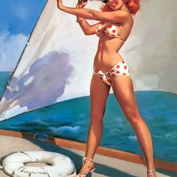 Bikini Telescope Girl Pop Pin-Up Vintage Poster Classic Retro Kraft Decorative Maps Wall Sticker Home Bar Posters DIY Decor Gift