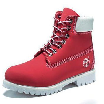 DCK7YE Best Deal Online Timberland 10061 Leather Lace-Up Boot Men Women Shoes Red White