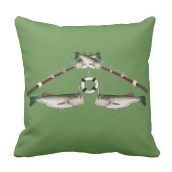 Bass Fish Hooked Throw Pillow