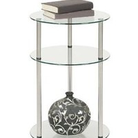Side Table Shelf Glass Stainless End Accent Stand Sofa Coffee Room Home Decor