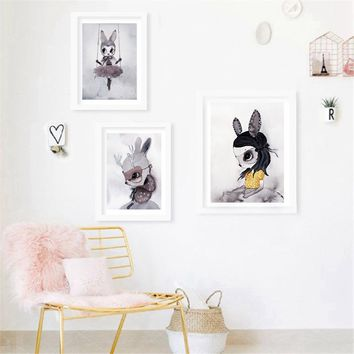 Poster Prints Nordic Decoration Nursery Girl Wall Art Canvas Painting Cute  Cartoon Rabbit Print Wall Pictures