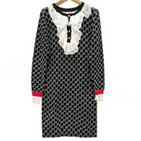GUCCI Autumn Winter Fashionable Women Casual GG Letter Jacquard Long Sleeve Dress Black