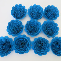 "big bright blue paper flowers, set of 10 Large 3"" roses, floral table decoration, Bridal shower decor, Wedding centerpiece, graduation party"