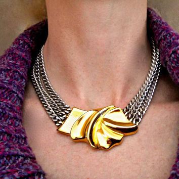 Three-Tone Chain Gold Bow Necklace, Gold Pewter Silver, Triple Strand and Vintage