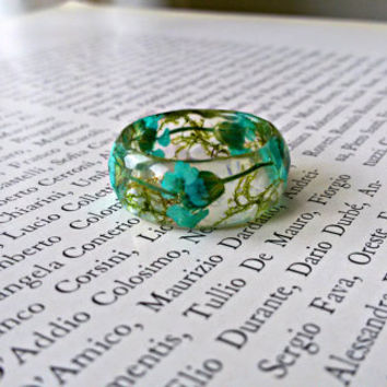 Resin ring with real flower, Pressed flower ring ,Terrarium ring, Real moss ring, Nature ring, Botanical resin ring, Forest jewelry