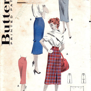 1950s Butterick 7642 Slim Fit Wiggle Skirt Secretary Style Kick Pleat Fitted Waist 28 Hip 37 One Yard Quick Sew