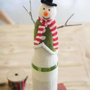 Felt Snowman Wine Topper With Stick Arms