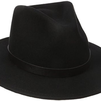 Brixton Men's Messer Fedora Hat, Black/Black, Medium
