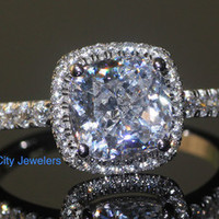 4CTTW 3CT Center NSCD Cushion Cut Simulated Diamond Split Cross Over Shank Engagement Wedding Ring