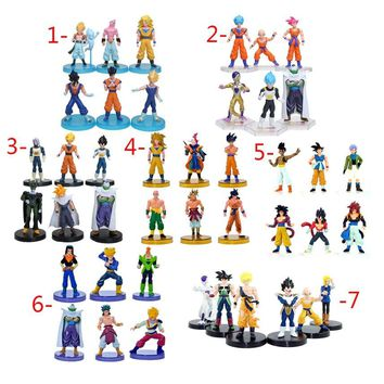 6Pcs/set Dragon Ball Z Figurines Son Goku Dragon Ball Gogeta Vegeta Super Saiyan Collection Toy