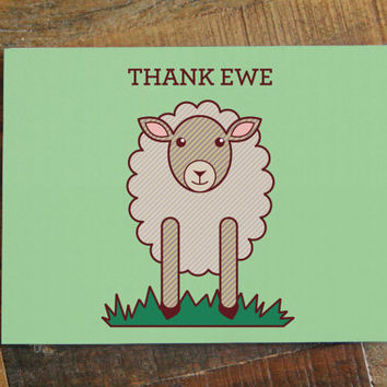 Thank Ewe - Thank You Card, Cute Sheep Art Card, Animal Pun, Thanks Card Blank Inside, Greeting Card, Wedding Thank You, Baby Thank You Card