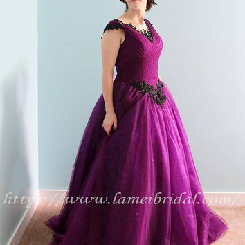 Gorgeous Royal Purple Basque Style Dress with Romantic Black Lace-Cap Sleeve Tulle and French Lace Gown with Beading Details - L'Amei 2018
